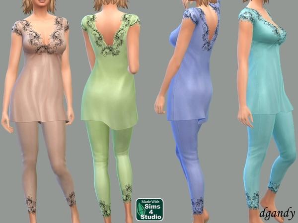 Sims 4 Silk Pajamas by dgandy at TSR