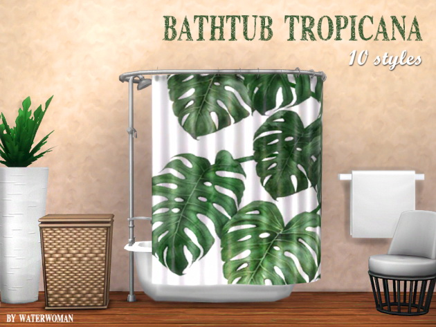 Tropicana shower curtain by Waterwoman at Akisima image 768 Sims 4 Updates