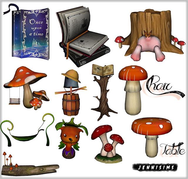 Sims 4 Set Vol 73 Deco: Table, Chair, Mushroom (12 Items) at Jenni Sims