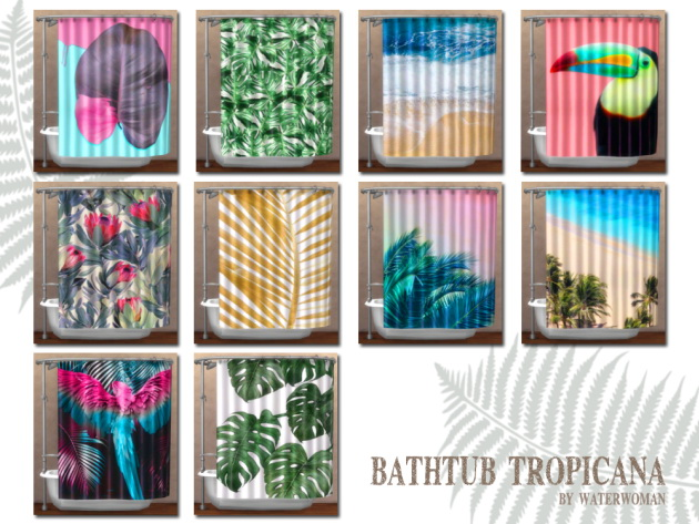 Tropicana shower curtain by Waterwoman at Akisima image 778 Sims 4 Updates