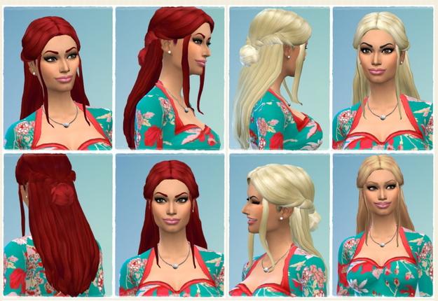 Sims 4 Halfup Unbraided Hair at Birksches Sims Blog