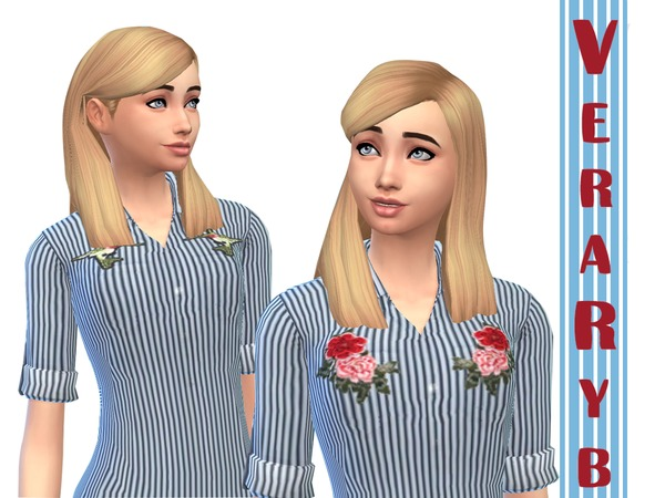 Sims 4 Denim striped shirt in patches by Vera Rybka at TSR