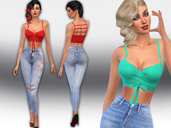 Sims 4 Colorful Tied Crop Tops by Saliwa at TSR