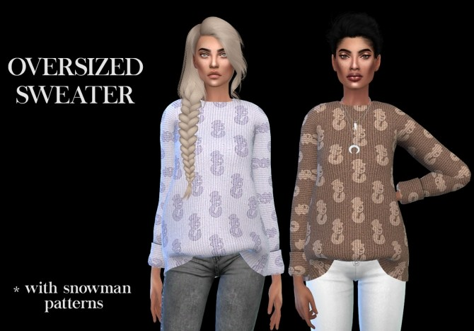 Sims 4 Oversized sweater recolored at Leo Sims