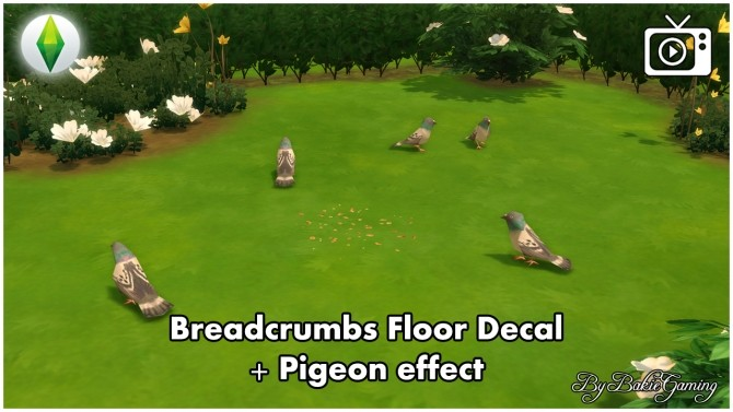 Sims 4 Breadcrumbs floor decal + Pigeon Effect by Bakie at Mod The Sims