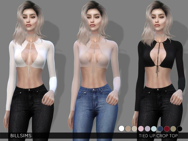 Sims 4 Tied Up Crop Top by Bill Sims at TSR