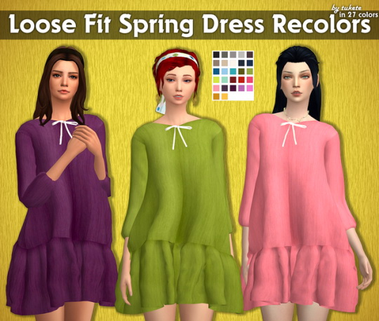 Sims 4 Loose Fit Spring Dress Recolors at Tukete