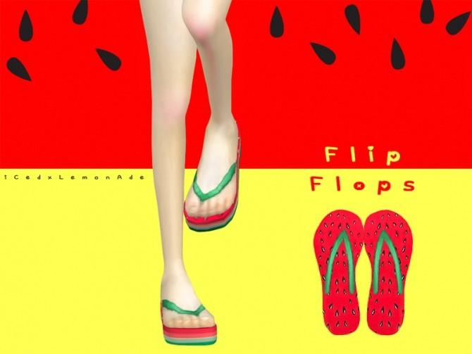 Sims 4 Watermelon High Flip Flops by iCedxLemonAde at TSR