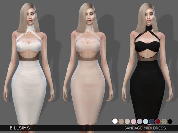 Sims 4 Bandage Midi Dress by Bill Sims at TSR