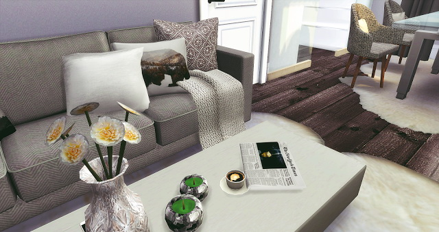 Sims 4 Silver Livingroom and Kitchen at Liney Sims