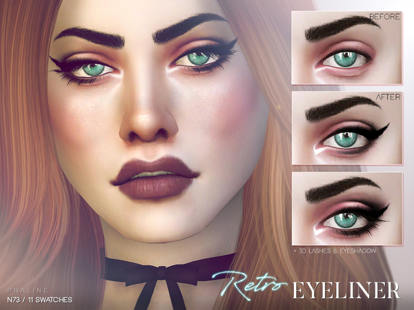 Sims 4 Retro Eyeliner N73 by Pralinesims at TSR