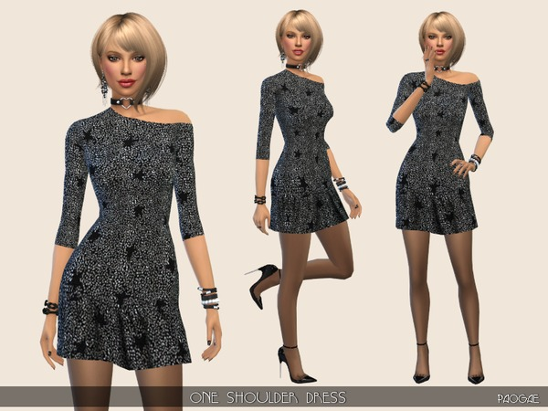 Sims 4 OneShoulder Dress by Paogae at TSR