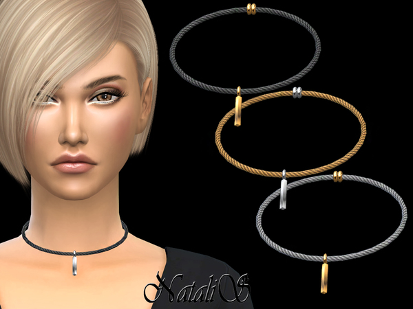 Sims 4 Cable Necklace Bar Pendant by NataliS at TSR