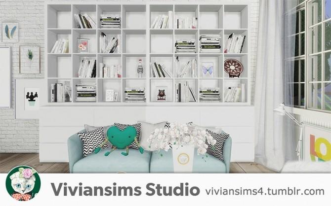 Nordic Style bookshelf and books at Viviansims Studio image 1334 670x418 Sims 4 Updates