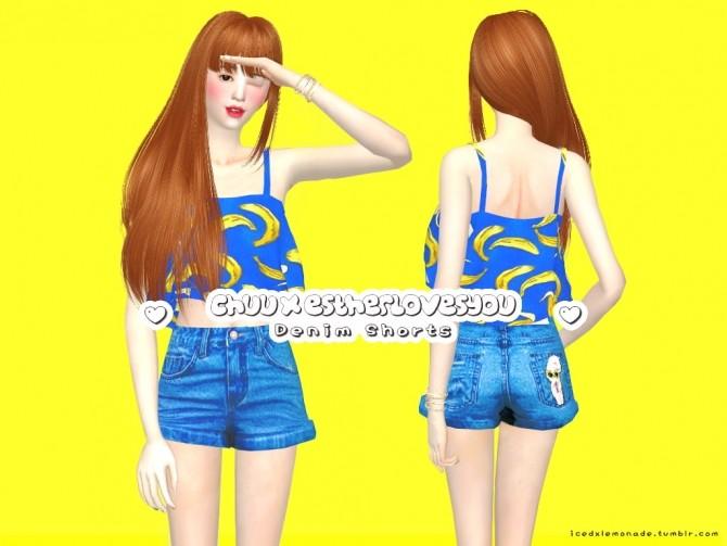 Sims 4 Estherloveschuu Denim Shorts at iCedxLemonAde