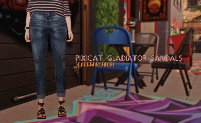 Sims 4 Pixicat Gladiator Sandals at Dream Team Sims