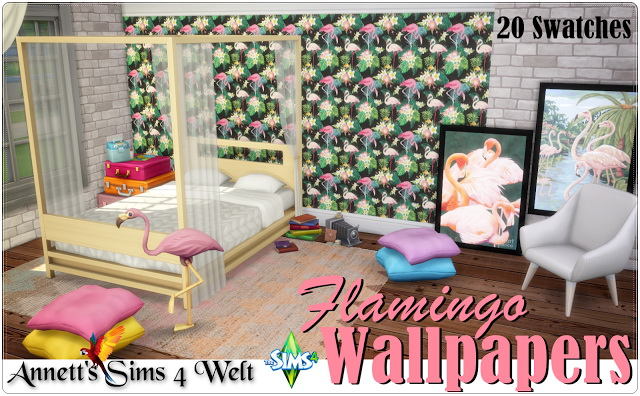 Flamingo Wallpapers at Annett's Sims 4 Welt image 1491 Sims 4 Updates