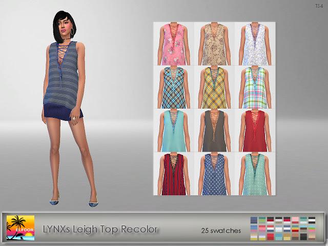 Sims 4 LYNXs Leigh Top Recolor at Elfdor Sims