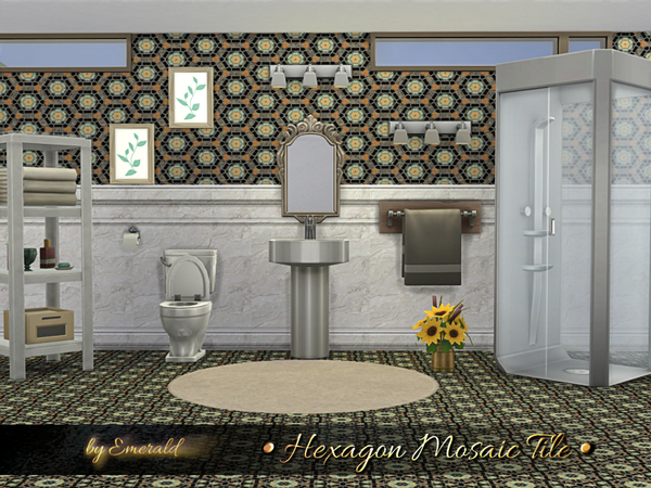 Sims 4 Hexagon Mosaic Tile by emerald at TSR