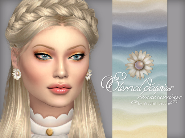 Eternal Daisies earrings by WistfulCastle at TSR image 1630 Sims 4 Updates