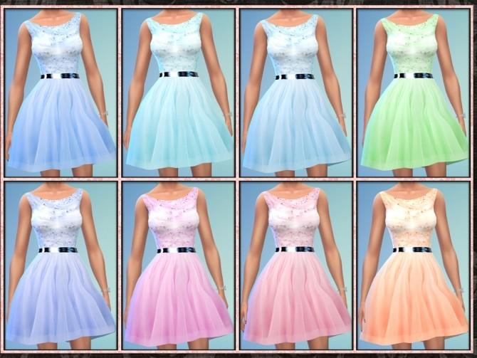 Sims 4 Beaded Tulle Short Bridesmaid Dress at 5Cats