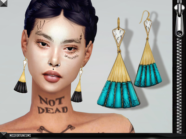Sims 4 MFS Violet Earrings by MissFortune at TSR