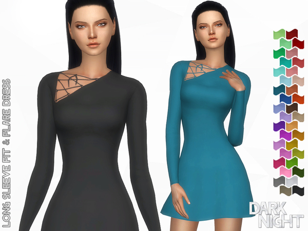 Sims 4 Long Sleeve Fit & Flare Dress by DarkNighTt at TSR