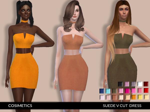 Suede V Cut Choker Dress by cosimetics at TSR image 2516 Sims 4 Updates