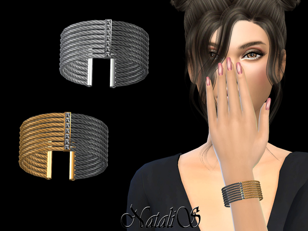 Two tone Cable Cuff by NataliS at TSR image 2714 Sims 4 Updates