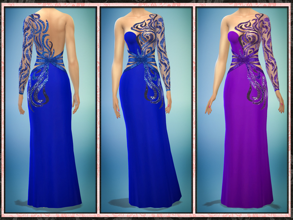 Sims 4 Sequin Cut Out One Sleeve Gown by Five5Cats at TSR