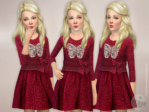 Butterfly Dress for Girls by lillka at TSR image 2718 Sims 4 Updates