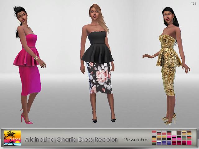 Sims 4 AlainaLina Charlie Dress Recolor at Elfdor Sims
