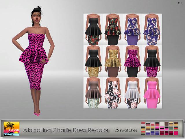 AlainaLina Charlie Dress Recolor at Elfdor Sims image 280 Sims 4 Updates