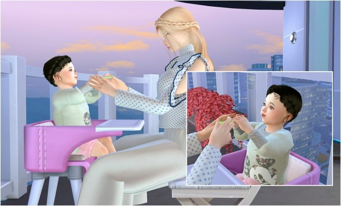 Sims 4 Feeding toddler posepack at Rethdis love