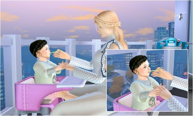 Feeding toddler posepack at Rethdis love image 2911 670x405 Sims 4 Updates