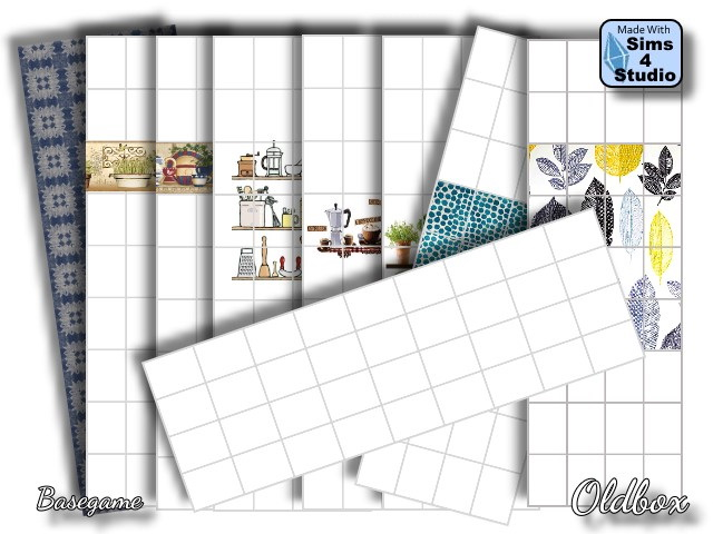 Wallpapers for kitchen and bathroom by Oldbox at All 4 Sims image 3031 Sims 4 Updates