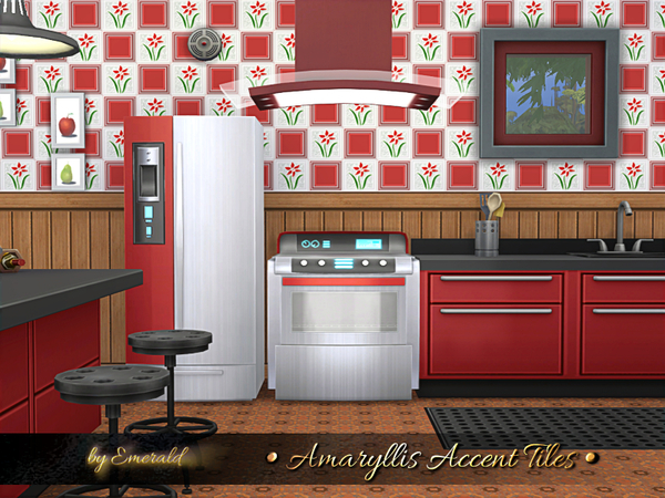 Sims 4 Amaryllis Accent Tiles by emerald at TSR