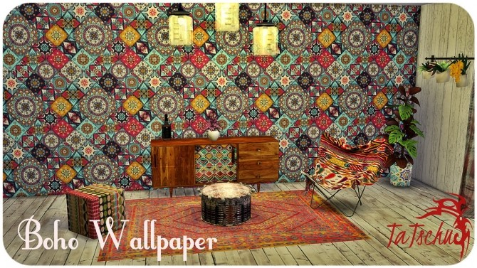 Boho Wallpaper Set At Tatschu S Sims4 Cc 187 Sims 4 Updates