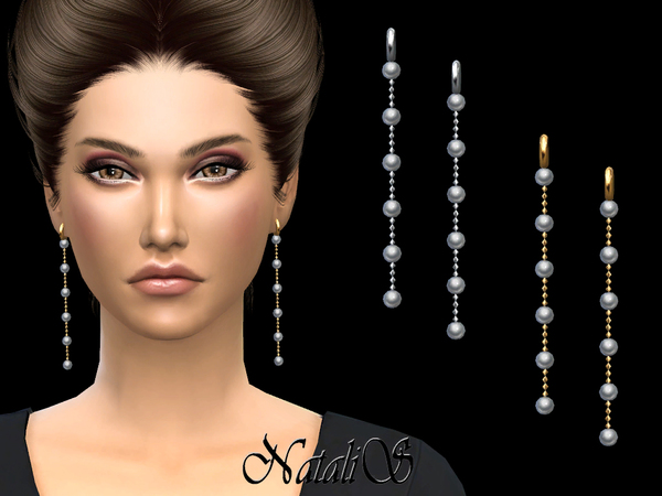 Sims 4 Long Pearl Chain Drop Earrings by NataliS at TSR