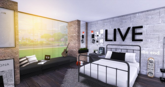 Industrial Bedroom at Mony Sims image 3351 670x355 Sims 4 Updates