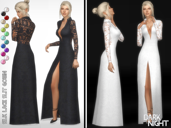 Silk Lace Slit Gown by DarkNighTt at TSR image 34 Sims 4 Updates