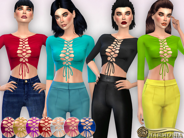 Sims 4 Sleeve Lace Up Front Crop Top by Harmonia at TSR