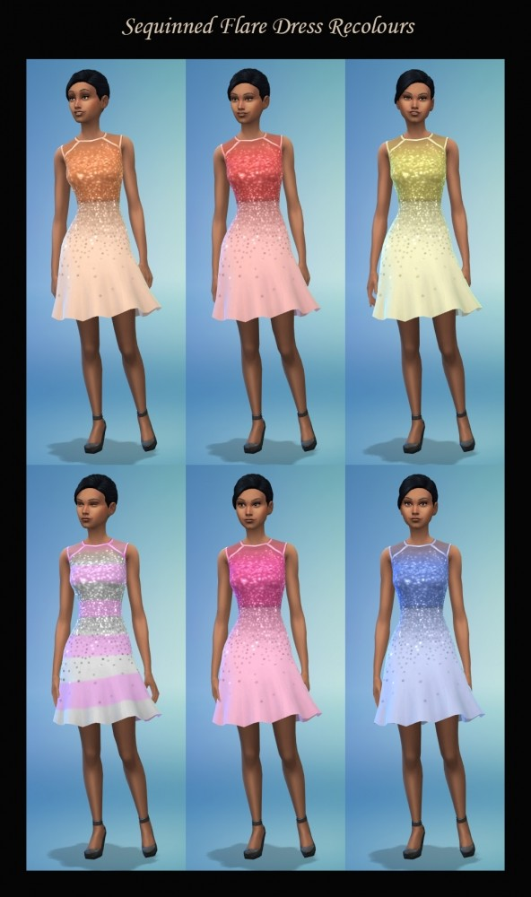 Sims 4 Sequinned Flare Dress Recolours by Simmiller at Mod The Sims