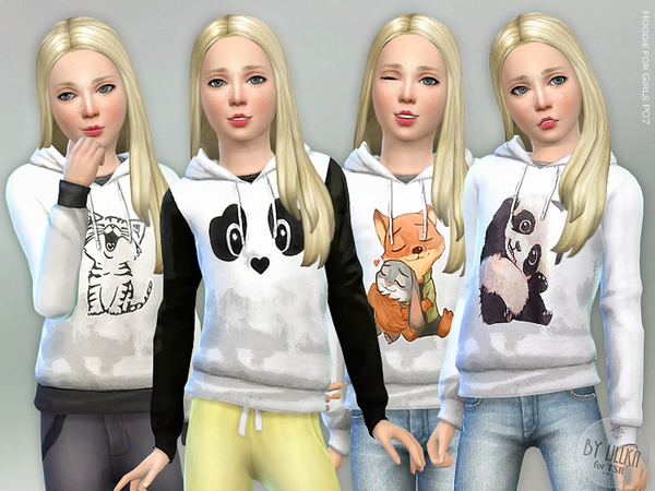 Hoodie for Girls P07 by lillka at TSR image 3816 Sims 4 Updates