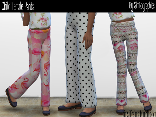 Sims 4 Child Female Pants by simtographies at TSR