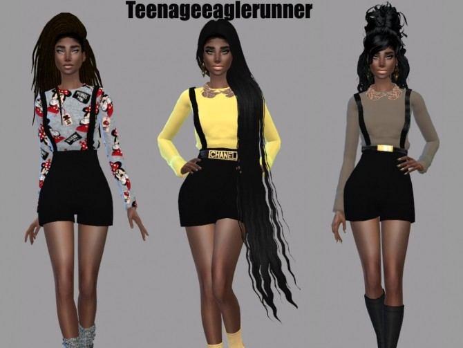 Suspender Pants Recolor at Teenageeaglerunner image 420 670x503 Sims 4 Updates