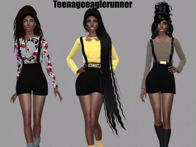 Sims 4 Suspender Pants Recolor at Teenageeaglerunner