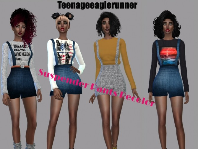 Suspender Pants Recolor at Teenageeaglerunner image 4211 670x503 Sims 4 Updates