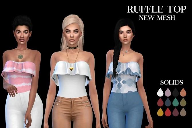 Sims 4 Ruffle Top at Leo Sims