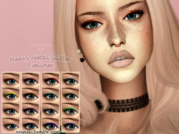 Sims 4 Heavy Metal Glitter Eyeliner by ANGISSI at TSR